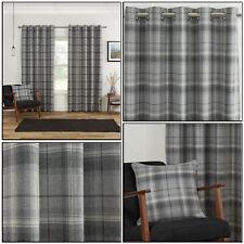 Grey Silver Highland Blackout Tartan Check Soft Eyelet Ring Top Curtains Pair