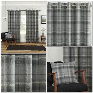 Grey Silver Highland Blackout Tartan Check Soft Eyelet Ring Top Curtains Pair