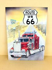 Vintage Route 66 Semi Truck Trucker Tin Sign Man Cave Garage Mechanic Bar USA