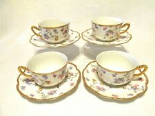 A Lanternier & Co Limoges Violets France Footed Cups & Saucers Flowers Gold Trim
