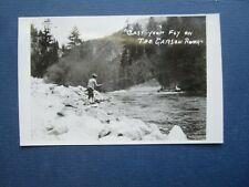 Old 1940's - FLY FISHING - CARSON RIVER - RPPC Real Photo POSTCARD