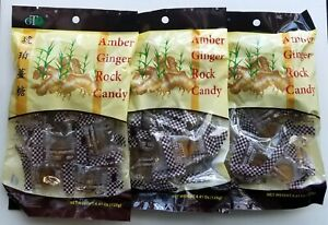 3-Pack Amber Ginger Rock Candy  With All Natural Ginger 4.41 oz each