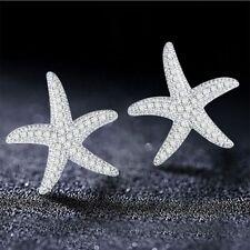 Fashionable Women Gift Silver Earring Set Auger Stud Earrings Starfish Shape