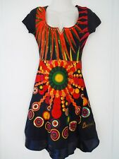 New Desigual Ladies Dress, Half Sleeve, Black & Multi, Size M, Scoop Neck