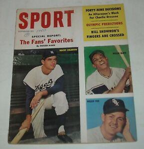 September 1960 SPORT MAGAZINE ROCKY COLAVITO WILLIE MAYS NELLIE FOX OLYMPICS