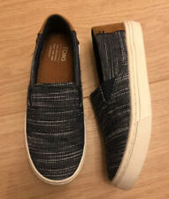 TOMS Boys Kids Youth Shoes Slip On Blue Denim White Brown Size UK 12 Y13