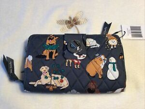 Vera Bradley Holiday Dogs Gray RFID Turnlock Zip Clutch Wallet 2021 Collection
