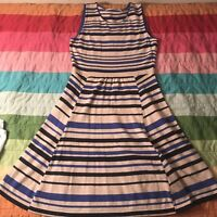 Sparrow Blue Beige Striped Lambswool Cashmere Sweater Dress Size Medium A1376