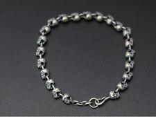 "925 Sterling Silver Retro skull Handmade collection bracelet bangle 7.08"" P1846"