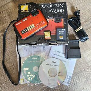 Nikon COOLPIX AW100 16.0MP Digital Camera - Orange In Box w Memory Card 32225511