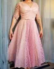 Vintage Pink Party Cocktail Dress Tulle