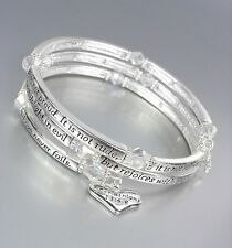 Inspirational Silver Twist Wrap 1 CORINTHIANS 13:4-8 Crystals Charms Bracelet