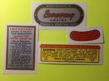 Briggs & Stratton Sears Economy Engine decal 500; 1-18 & 1-19