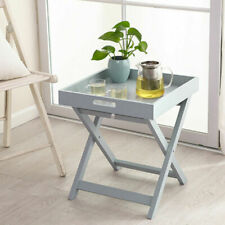 Wooden Tray Butler Table Grey Serving Folding NEW
