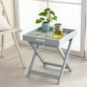 Butlers Console Tray Table Grey Portable Serving Wooden Shelf Storage Folding