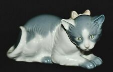 """Nao by Lladro """"Collared"""" Porcelain Laying Down Cat Figurine"""