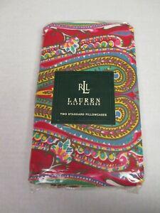 Rare Ralph Lauren Beachside Preppy Red Paisley Floral 2 Standard Pillowcases