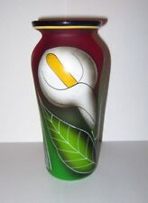 Hand Blown & Hand Painted Purple Green Satin Glass Calla Lily Vase