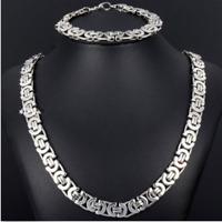 8mm Silver Stainless Steel Byzantine Chain Necklace & Bracelet Set Mens Jewelry