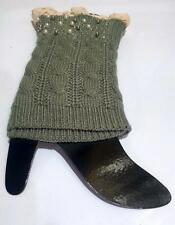 PEARL KNIT LACED LEG WARMERS BOOTS TOPPERS-FERN