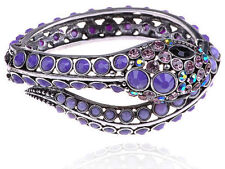 Chic Vintage Silver Metal Purple Crystal Rhines Snake Bracelet Unique Jewelry
