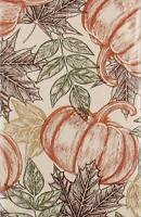 Colorful Sketches Autumn Leaves Pumpkins Vinyl Flannel Tablecloth Various Sizes