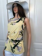 BNWT DKNY Top Yellow Floral Size Extra Small Stretch Sleeveless Ruched Side