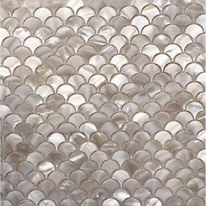 White Mother of Pearl Fish Scale Tile For Bathroom Kitchen Shower Tile(1 sheet)