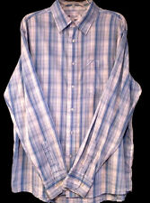 ECKO UNLIMITED - Blue and White Long Sleeve Dress Shirt - Men's Size: LARGE