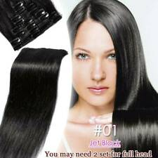US Clip in Hair Extensions 100% Remy Human Curled Black Ash Blonde Dark Brown CY