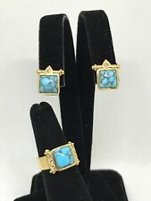 Vintage 18kt Yellow Gold and Spider Web Turquoise Ring and Earring Set