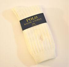 Ralph Lauren Ladies Socks Ribbed Wool Blend w/ Polo Pony Ivory - NEW