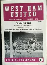 More details for west ham united v olympiakos european cup winners cup 1965/66