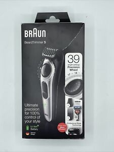 Y143 Braun Beard Trimmer 5 Beard Trimmer for Men - Black/Silver with gillette