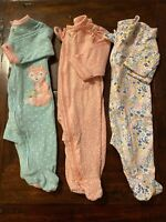 Bundle Lot Of 3 Infant Baby Girl Zip Up Footed Size 3 Months Sleeper Bodysuits