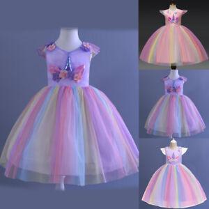 Xmas Girls Tulle Unicorn Layered Sleeveless Princess Birthday Party Long Dress