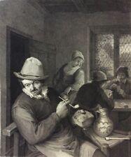 Adriaen van Ostade 1610-1685 un fumeur estampe gravée par Claefsens XIXe
