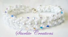 White Pearl & CLEAR AB Crystal DYNASTY bridal formal Bracelet  Handcrafted