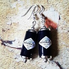 Unique HENDRICKS GIN EARRINGS handcrafted SCOTTISH miniature G & T scotland COOL