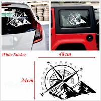 48x34cm Car SUV Body Tailgate Window White Compass Graphics Vinyl Decal Sticker