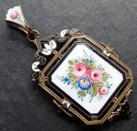 antique victorian enamel rose flower photo locket back pendant for necklace A520