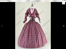 Civil War Plaid Day Dress or Dickens Christmas Caroler - Size S