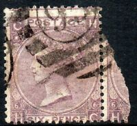 1865 Sg 96 6d deep lilac 'HC' Plate 6 with London Duplex Cancellation Good Used