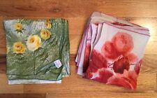 2 Vintage Floral Rose Water Repellent 100% Rayon Hand Rolled Japan Scarf Scraves