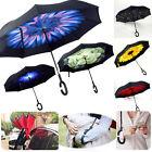 Rain Umbrella C-Handle Double Layer Windproof Multi-color Upside Down Design