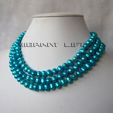 """48"""" 6-8mm Blue Freshwater Pearl Necklace Strand Jewelry U"""