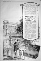 Antique Print 1921 Advertisement Muratti Ariston GTipped Cigarettes Tobacco