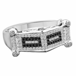 0.80 CT Round Sim. Diamond & Black Spinel Cluster Band Ring 14K White Gold Over