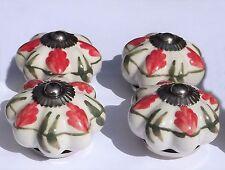 boutons en Céramique Poignées Tiroir fleur blanche rouge MOYEU feuilles vertes (