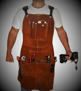 Orignal LEATHER APRON MEN And Women APRON With Tool Pockets (5 Pieces Set)